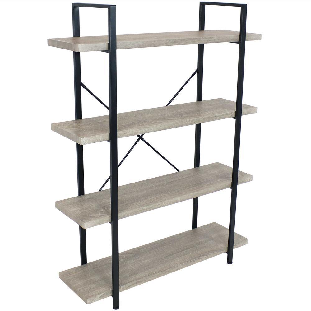 55 in. Oak Gray Industrial Style 4-Tier Bookshelf with Wood Veneer Shelves
