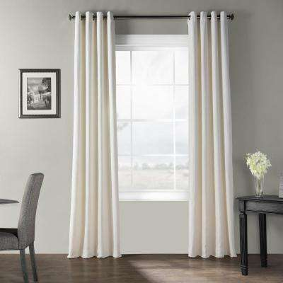 Birch Ivory Bark Weave Solid Cotton Grommet Curtain - 50 in. W x 84 in. L