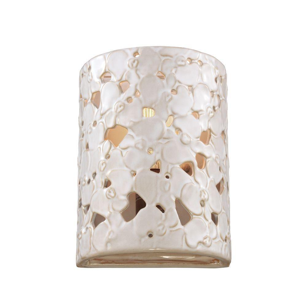 Feiss Azalia 1-Light White Taupe Ceramic/Beach Wood Sconce