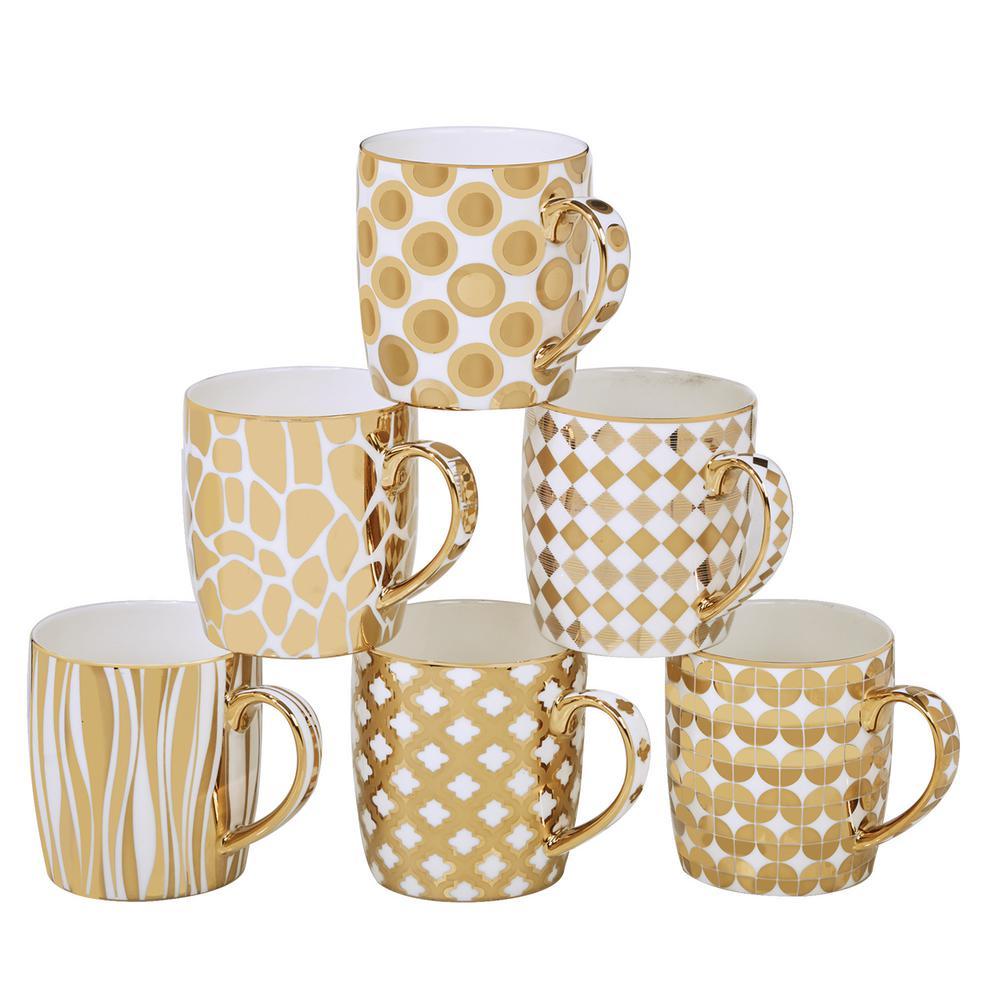 Certified International Gold Plated Barrel Mug Set Of 6