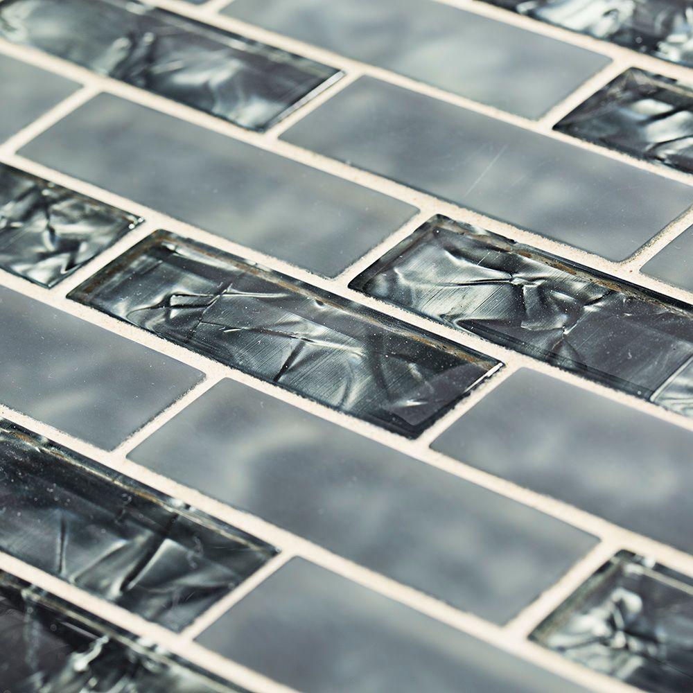 Black Magic 12 in. x 12 in. Glass Brick Mosaic Tile