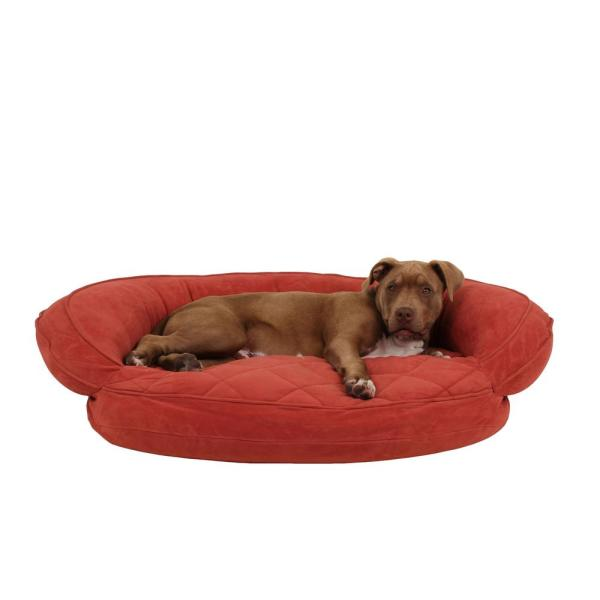 Medium Earth Red Microfiber Quilted Bolster Bed with Moister Protection