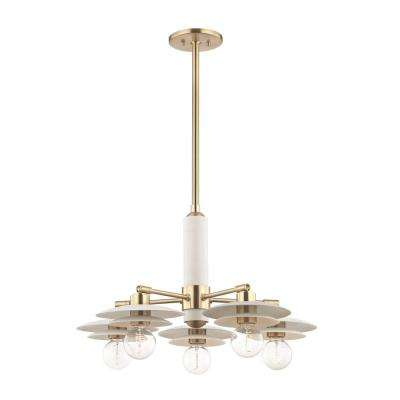 Milla 5-Light Aged Brass Chandelier with White Shade