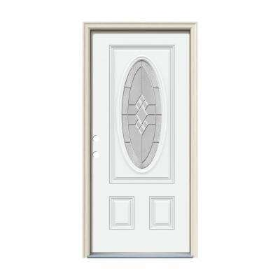 36 in. x 80 in. 3/4 Oval Lite Kingston White Painted Fiberglass Prehung Right-Hand Inswing Front Door w/Brickmould