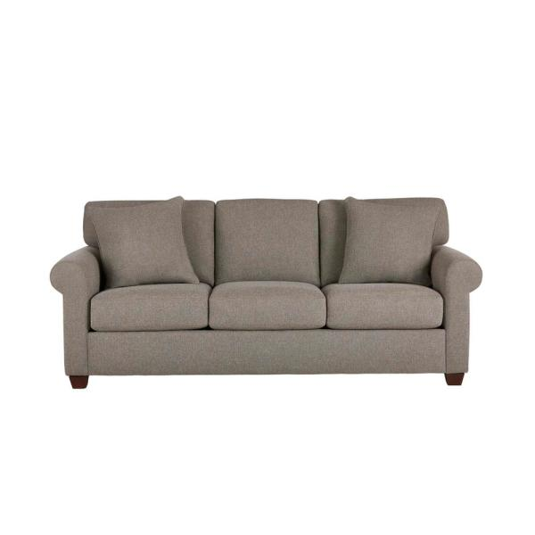 Rockdale 85.5 in. Acuff Charcoal Polyester 3-Seater Sofa with Round Arms