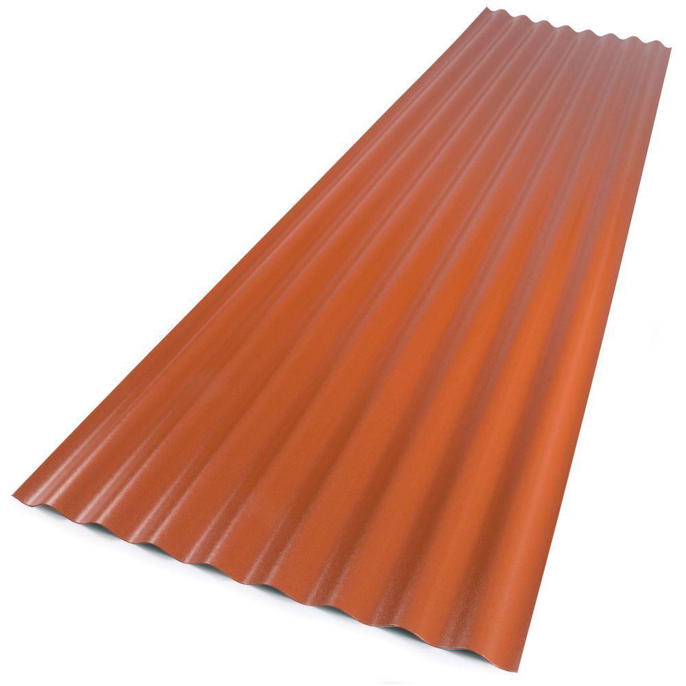 Suntop 26 in  x 12 ft  Sedona Brick Foamed Polycarbonate Corrugated Roof  Panel
