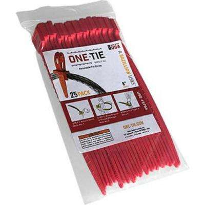 8 in. Cable Ties, Red (25-Pack)
