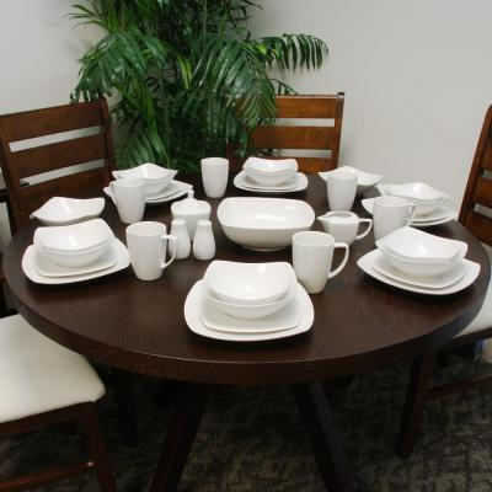 Zen 39-Piece Solid White Porcelain Dinnerware Set (Service for 8)