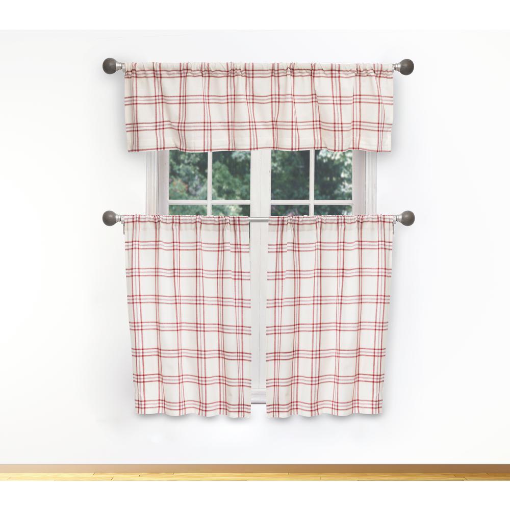 Gwen Kitchen Valance in Tiers/Garnet - 15 in. W x 58 in. L (3-Piece)