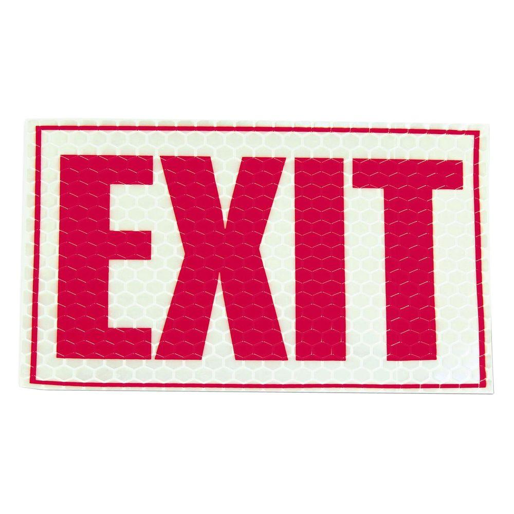 9.75 in. x 7.75 in. Vinyl Reflective Exit Sign, Red