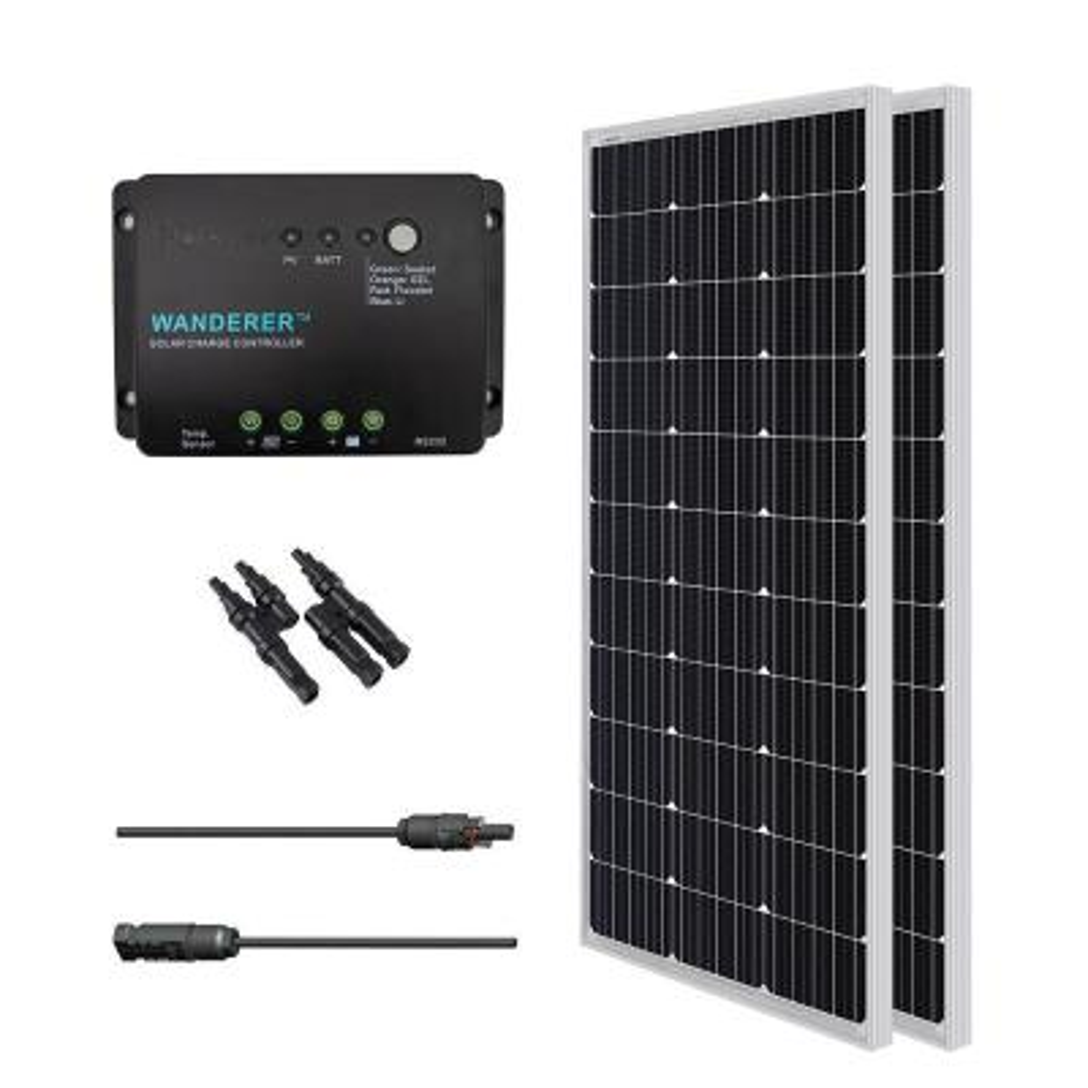 200-Watt 12-Volt Monocrystalline Solar Bundle Off-Grid Kit with 30 Amp Charge Controller