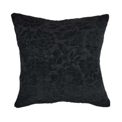 Black Damask Flocked Throw Pillow