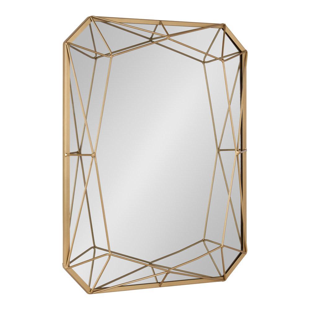 Medium Rectangle Gold Art Deco Mirror (28 in. H x 22 in. W)