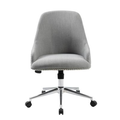 Designer Desk Chair. Grey Linen Fabric. Chrome Nail Heads and Base. Pnuematic Lift.