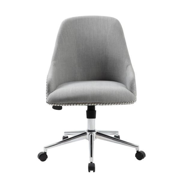 Boss Office Designer Desk Chair Grey Linen Fabric Chrome Nail Heads And Base Pnuematic Lift B516c Gy The Home Depot