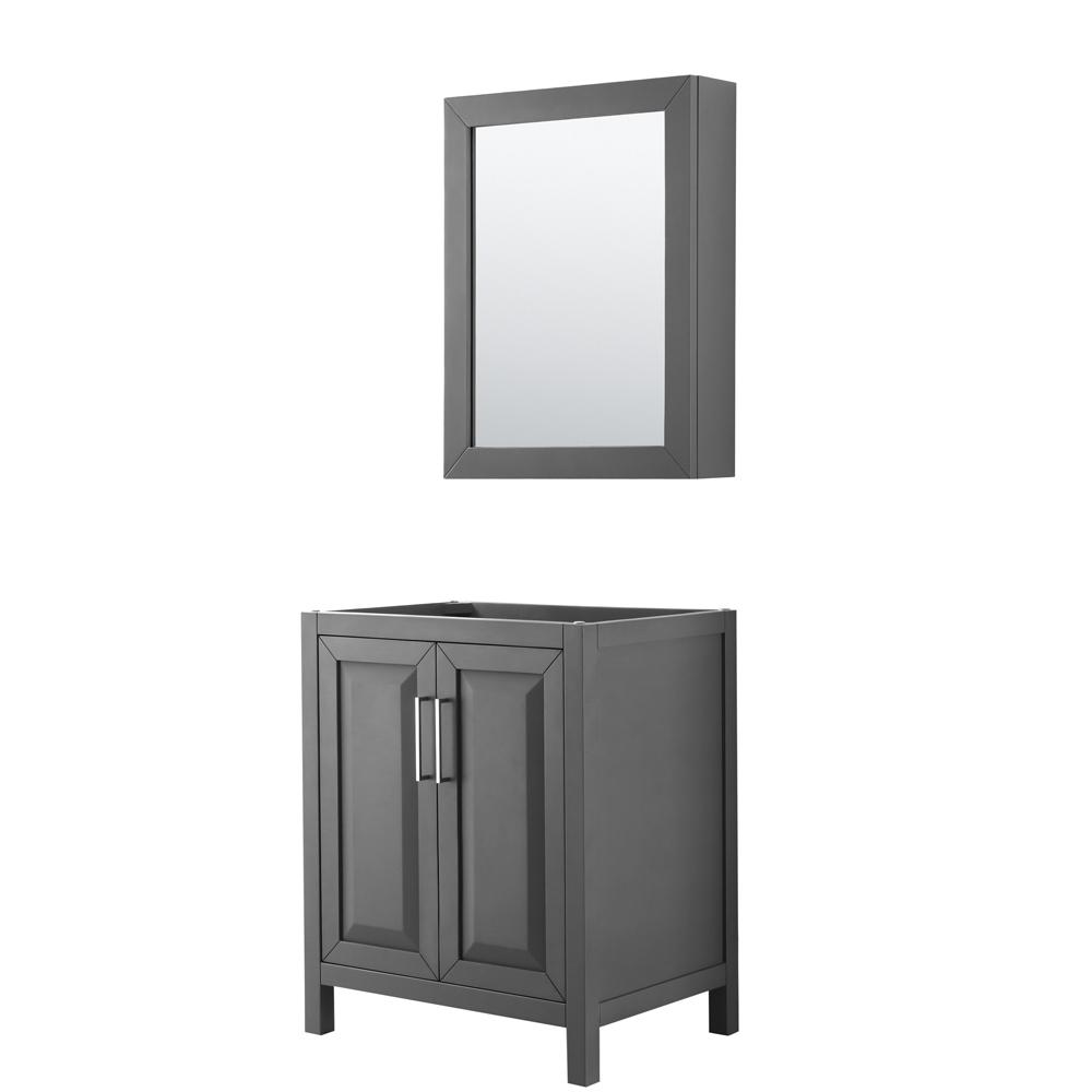 Wyndham Collection Daria 29 in. Single Bathroom Vanity Cabinet Only with Medicine Cabinet in Dark Gray