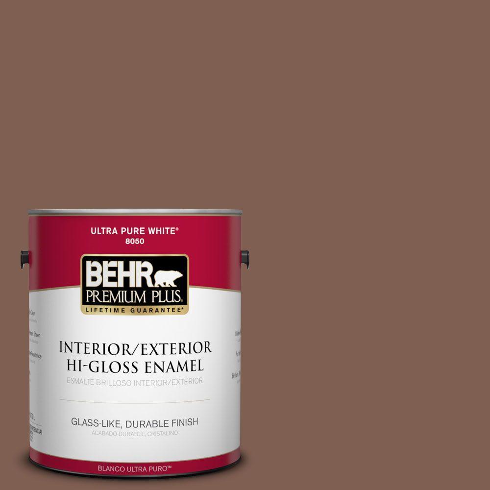 BEHR Premium Plus 1-gal. #N160-6 Spanish Chestnut Hi-Gloss Enamel Interior/Exterior Paint