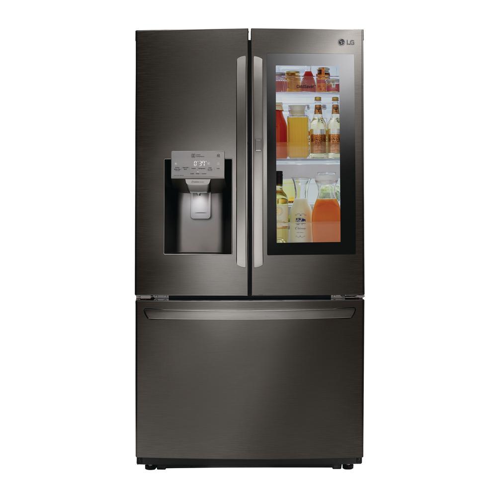 LG Electronics 22.1 cu. ft. French Door Smart Refrigerator with InstaView Door-in-Door in Black Stainless Steel, Counter Depth