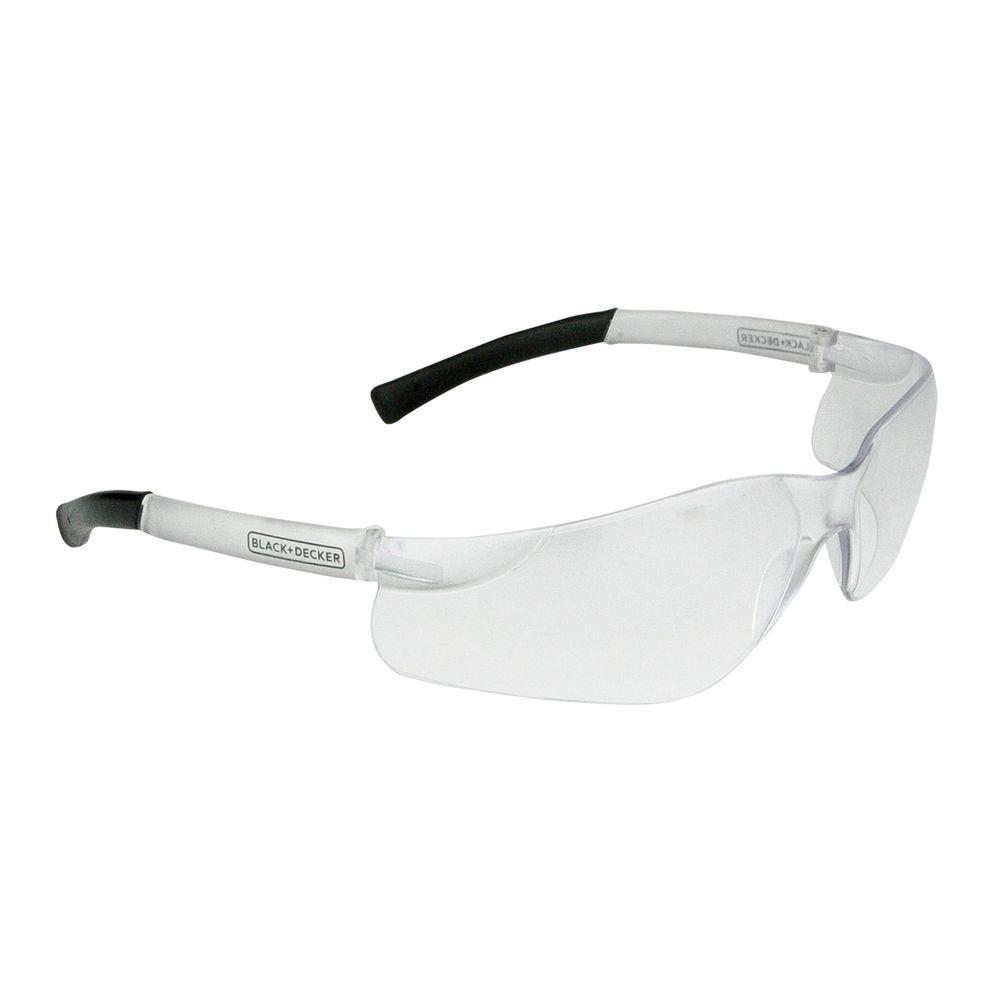 BLACK+DECKER Clear Lens and Temples Small Frameless Safety Glasses The BLACK+DECKER BD260 safety eyewear are lightweight frameless safety glasses. These glasses are sized small making them great for women and youth. Rubber temple tips provide a secure comfortable fit.