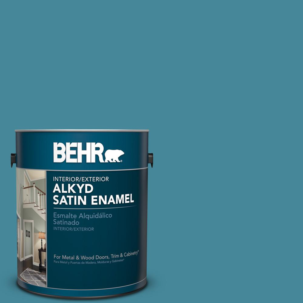 1 gal. #S460-5 Blue Square Satin Enamel Alkyd Interior/Exterior Paint