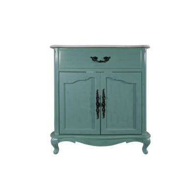 D Vanity in Blue with Marble Vanity - Vintage/Antique - Blue - White - Bathroom Vanities - Bath - The Home