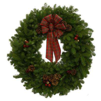 30 in. Balsam Fir Highland Fresh Wreath : Multiple Ship Weeks Available