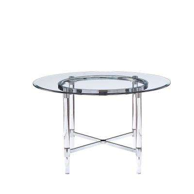 Daire Chrome and Clear Glass Dining Table