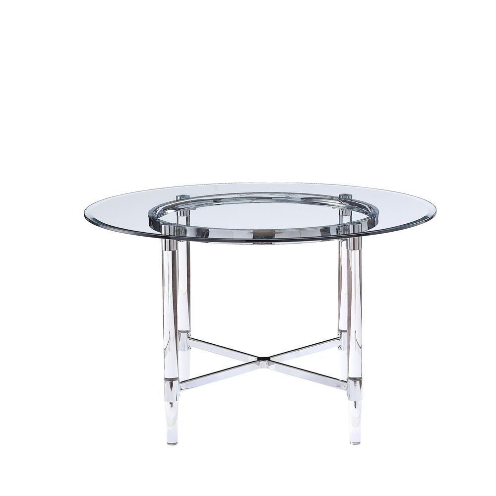 Flash Furniture Clear Chrome Dining Table Cga Ch 24206 Cl Hd