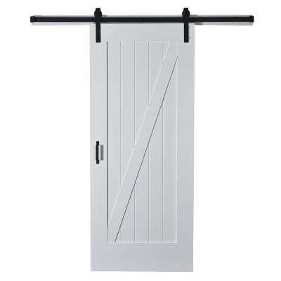 37 in. x 84 in. Z Planked Primed MDF Solid Core Wood Barn Door with Matte Black Sliding Door Hardware Kit