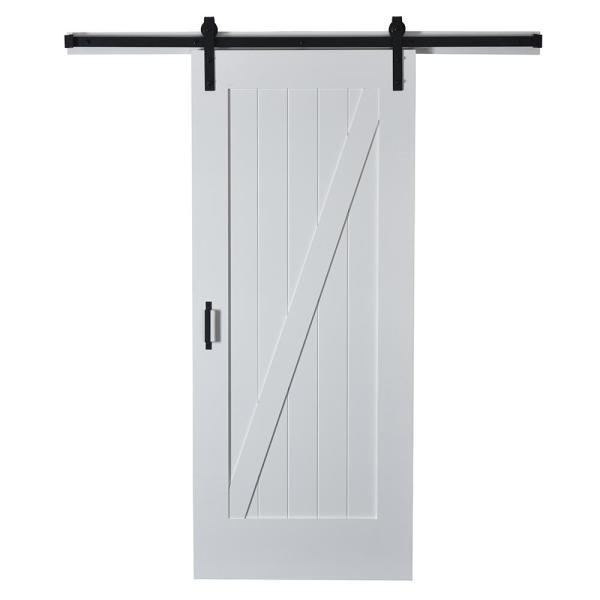 43 in. x 84 in. Z Planked Primed MDF Solid Core Wood Barn Door with Matte Black Sliding Door Hardware Kit