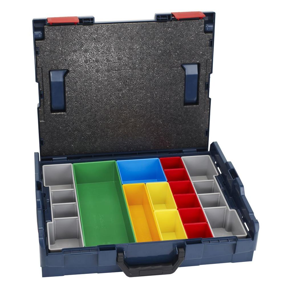 Bosch 17.5 in. L x 14 in. W x 4.5 in. H Stackable Small Tool Storage Hard Case with 13 Piece Insert Set