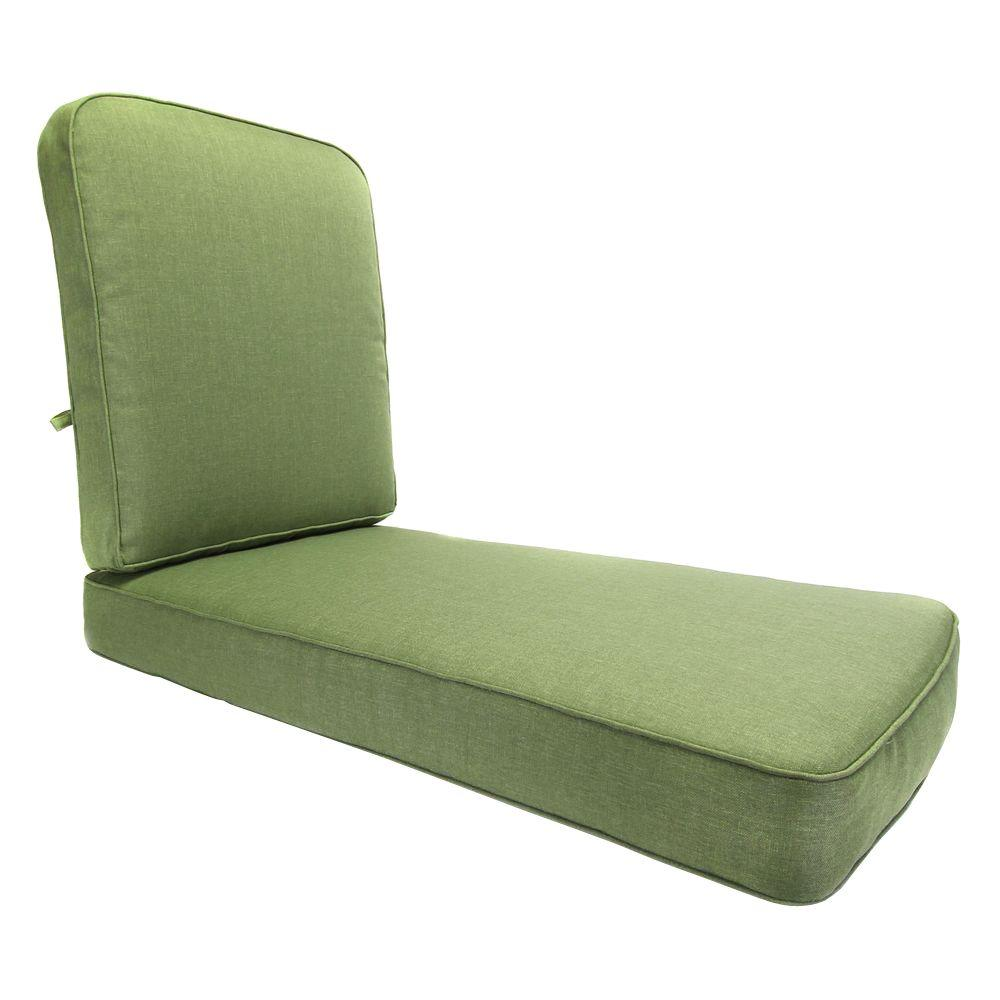 Hampton Bay Clairborne Solid Green Replacement Outdoor Chaise Cushion
