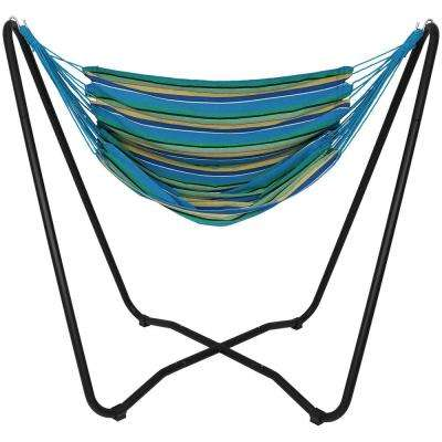 5 ft. Fabric Hanging Hammock Chair Swing with Space-Saving Stand in Ocean Breeze