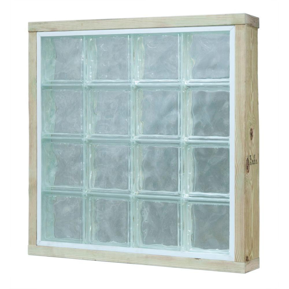 Pittsburgh Corning 32 in. x 40 in. x 5.5 in. LightWise Decora Pattern White Hurricane Impact Glass Block Window