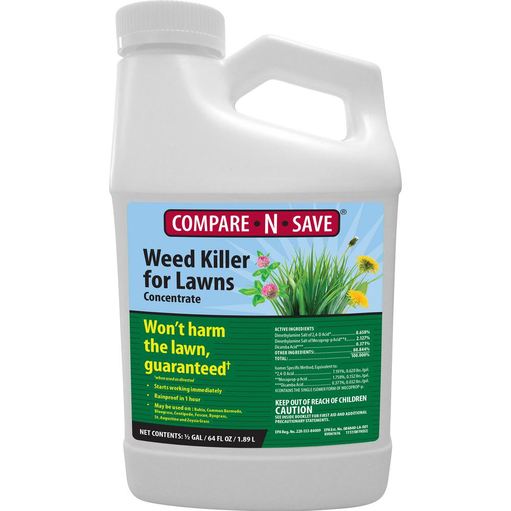 Compare N Save 64 Oz Weed Killer For Lawns Concentrate Liquid Herbicide 75450 The Home Depot