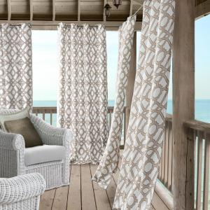 Elrene Marin 50 inch W x 95 inch L Polyester Indoor/Outdoor Single Window Curtain Panel in Natural by Elrene