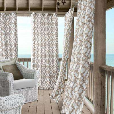 Marin 50 in. W x 108 in. L Polyester Indoor/Outdoor Single Window Curtain Panel in Natural