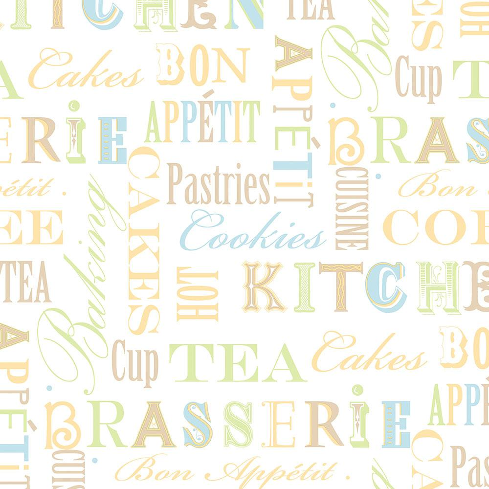 Norwall Kitchen Script Wallpaper Kc28541 The Home Depot