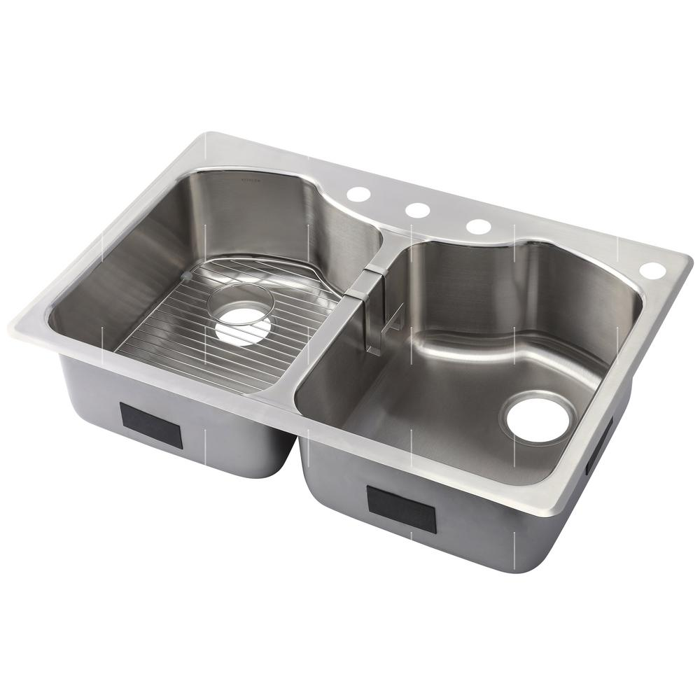 KOHLER Octave Dual-Mount Stainless Steel 33 in. 4-Hole Equal Double ...