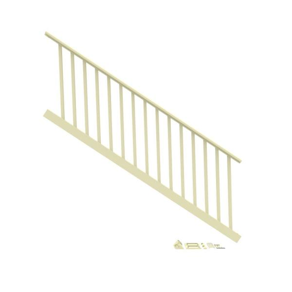 8 ft. x 36 in. H, 32-Degree to 38-Degree Stair Rail Kit 1-1/4 in. Square Balusters in Dune