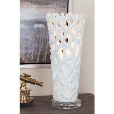 6 in. x 15 in. Modern White Cone-Shaped Coral-Inspired Acrylic Uplight