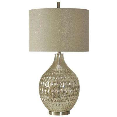 35 in. Mercury Table Lamp with Sparkle Hardback Fabric Shade