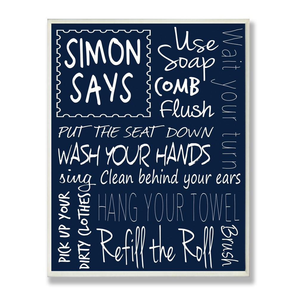 "12.5 in. x 18.5 in. ""Simon Says Bath Rules Chalkboard Bathroom"" by Regina Nouvel Printed Wood Wall Art"