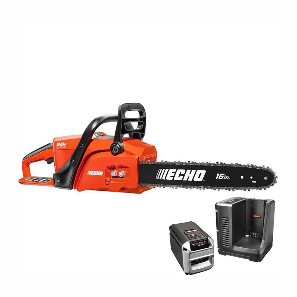 Echo 16 In 58 Volt Brushless Lithium Ion Cordless Chainsaw 4 0 Ah Battery And Charger Included