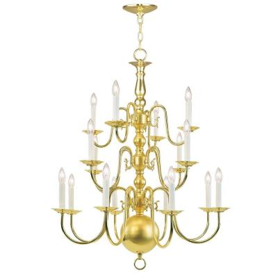 16-Light Polished Brass Chandelier