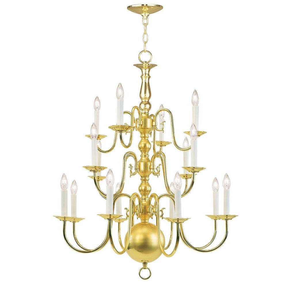 16-Light Polished Brass Chandelier