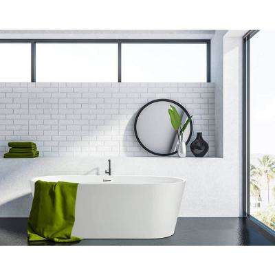Bordeaux 54 in. Acrylic Flatbottom Freestanding Bathtub in White