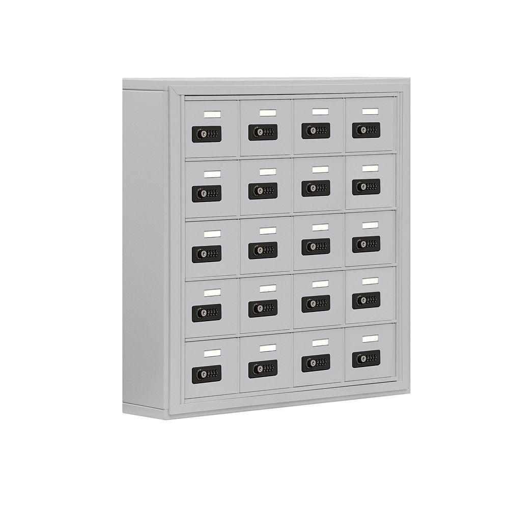 Salsbury Industries 19000 Series 30.5 in. W x 31 in. H x 6.25 in. D 20 A Doors S-Mount Resettable Locks Cell Phone Locker in Aluminum