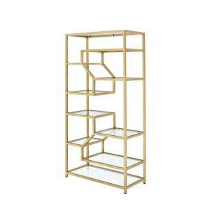 ACME Furniture Lecanga Cube Clear Glass and Gold Bookcase by ACME Furniture