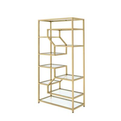 Lecanga Cube Clear Glass and Gold Bookcase